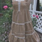 Tier Ruffle 60s Cord Peasant Jumper Dress Corset XS S