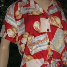 # 3 Vintage Hawaiian  crop top Ties L large Postcard Seashell VLV