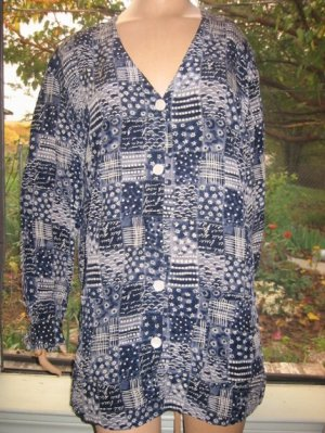Luxurious August Silk blue print Blouse Top L X Prettiest Print