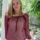 # 1 All sheer Maroon Chiffon vintage Peasant Hippie Top M