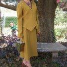 Vintage 60s Mad Men Suit Gabardine Asymmetric jacket,Pencil skirt Top SUIT
