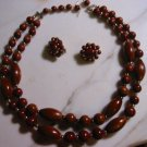 Wood vintage Double strand bead Necklace Clip Earring Set demi