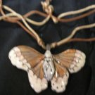 Porcelain Butterfly Necklace Painted porcelain Tan Cream Silky Thread chain