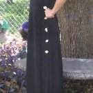 Reduced Half Price Evan Picone 70s Maxi Long Black Dress Seashell Buttons  S M Designer elegant