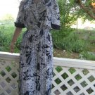 Fabulous vintage Silky Navy Dress Amazing Print L XL Silky Shirt Dress Elegant