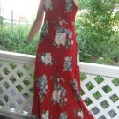 Sale vintage Hawaiian Sundress Long Strappy Dress Roses M maxi sexy straps