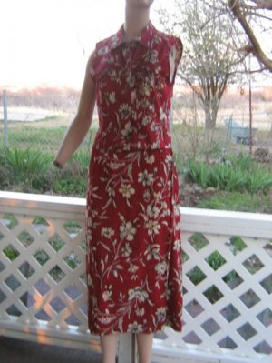 Vintage Top Sarong Wrap Skirt Set Hawaiian western S M maroon floral