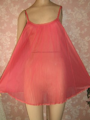 Vintage Nightgown Baby Doll Vanity Fair Pink Matching Panty Set Small S babydoll