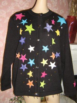 Ugly Sweater Vintage black cardigan Stars Beaded faux pearl L XL 1X