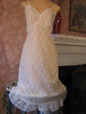 Shadowline Vintage Slip two Layer All lace Ruffle Hem XS chiffon