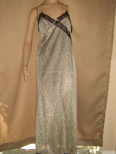 Cine' Star Vintage Nightgown Leopard Print Nylon Black Lace Split M Lg