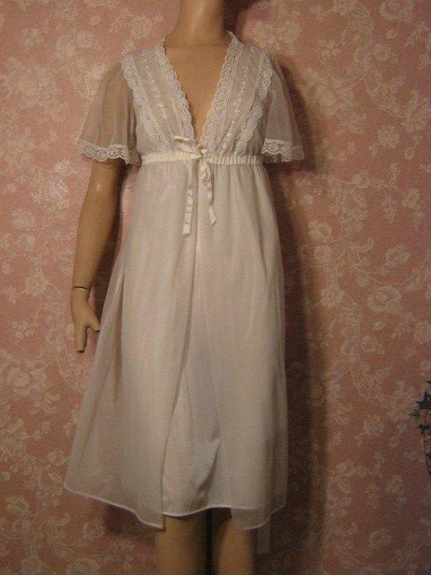 sold Sears Vintage Nightgown Peignoir Set White Chiffon Waltz Length S M