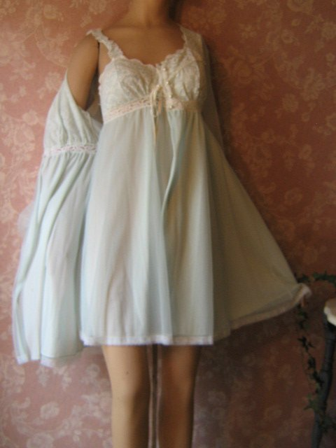 Olga Vintage Nightgown Peignoir Set Sheer Blue Chiffon