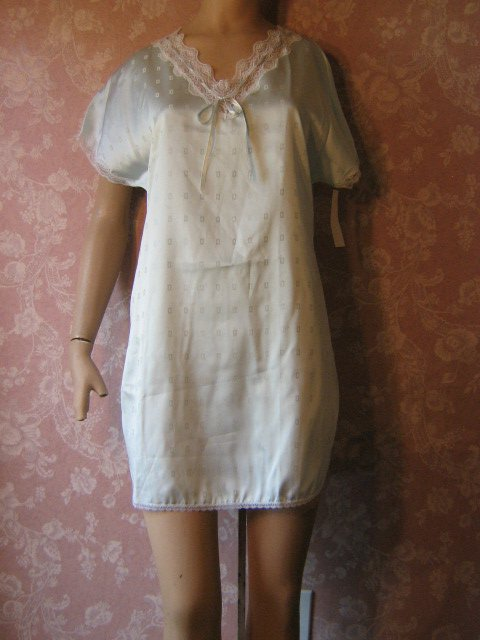 sold Avian Vintage Nightgown Babydoll aqua blue Satin Feminine Sexy NWT small