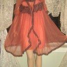 Glyndons Vintage Nightgown Robe Set Babydoll chiffon peignoir M L