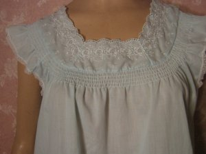sold Katz Cotton Vintage Nightgown Baby Blue embroidered Smocked S M