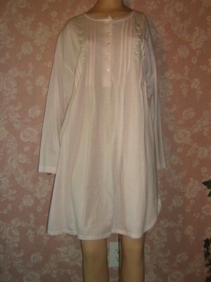 Komar All Cotton Vintage Nightgown Night Shirt L lg faux pearl Pink