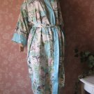 Natori Asian Print Wrap Robe Aqua L M Aqua geisha girls