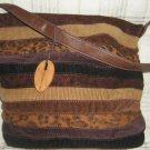 Vintage Caribbean Joe Patchwork Tote Handbag purse Hippie Hipster Boho Leopard