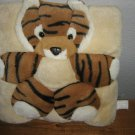 Vintage Plush Tiger applique Throw Pillow Dimensional 70s Stuffed Tiger pillow