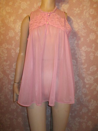 texsheen Vintage Nightgown Babydoll Small Shorty Tent Double Chiffon Pink