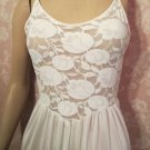 Olga Christina Vintage Nightgown Long Strappy Sheer lace Bodice S M Bridal White