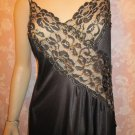 Colesce Vintage Nightgown Long Black Side Split Elegant Gold Lace L