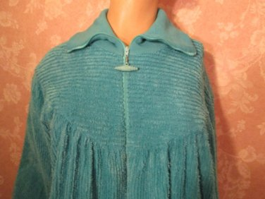 sold Adonna Vintage Robe Chenille Teal Large Zip Front Lounger L Petite
