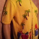 Vintage Sweater Ugly Sweater Yellow Palm Trees Umbrella Drinks Vintage 80s Short