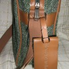 Pierre Cardin Messenger LapTop Bag Green Tweed Vinyl inside purse