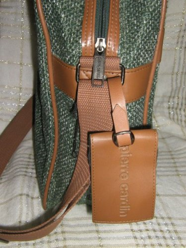 Pierre Cardin Messenger LapTop Bag Green Tweed Vinyl inside purse
