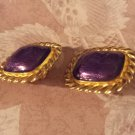 Gay Boyer Vintage Vintage Clip Earrings Purple stones Goldtone Rope Framed Chunky