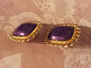 Gay Boyer Vintage Vintage Clip Earrings Purple stones Goldtone Rope Framed Chunky