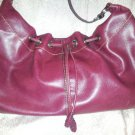 Liz Claiborne Purse  Oxblod Brown Leather Look Slouch Hippie Drawstring Vegan
