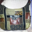 Fossil Purse Patchwork boho hippie Leather Suede Fabric Brocade Animal Print Slouch Handbag