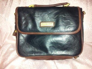 Capezio mini Briefcase Purse Satchel notepad case Black Brown Handle handbag