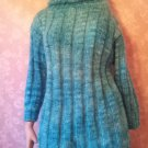 Vintage Sweater Mohair Ombre Teal Aqua Blue Fluffy Cowl Turtleneck