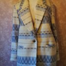 Vintage Blazer Jacket Ikat Western Southwest Gray Indian Blanket Wool LIned L large