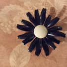Vintage Flower Pin Brooch 60s Black Enamel white Center Mum Daisy Chunky no Stem