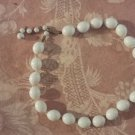 Trifari Vintage Necklace Oval White Bead Crown Logo Fob Hand Knotted