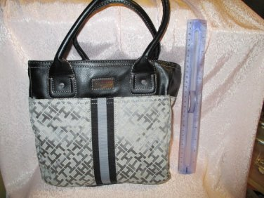 Tommy Hilfiger authentic Logo Fabric Tote purse Handbag Gray Black