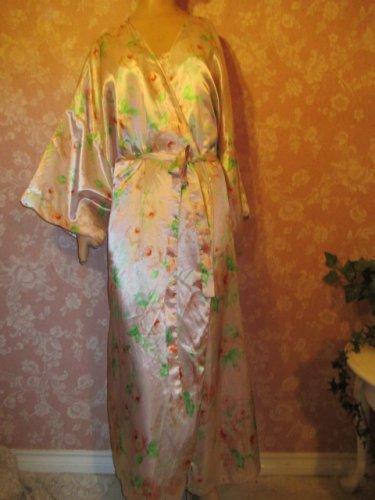 Satin vintage 90s Nightgown Peignoir Robe Pink floral Print Plus Size 3X 4X