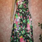 Lanz 80s Vintage Dress Peek Back Sundress Floral Print Black