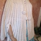 70s Cape Poncho hipster Capelet Shawl White Crochet Pom Poms  One Size