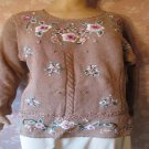 Vintage Sweater Long Tunic Embroidered Flowers Faux Pearls M tan New With Tag