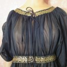 Vintage Peignoir Robe Black Long Sheer Chiffon Grecian Goddess Gold Rhinestone Tall