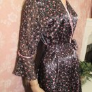 Vintage Robe Designer Oscar deLa Renta Satin S M  floral black short wrap Robe