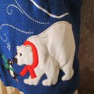 Vintage Sweater Zip Front Sweater Vest Polar Bear Penguin Ugly Christmas sweater L XL