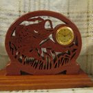Vintage Wood Clock Openwork Fish Carved Detailed