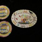 Vintage Circus Plates Set 3 Nursery Decor Raised Detail Ceramic Wall Plaques